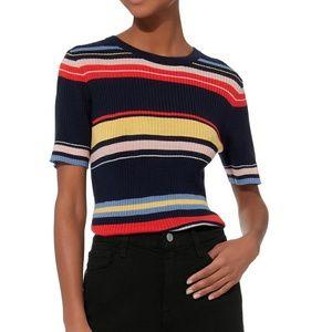 Frame Denim Tops - Frame Panel Striped Short Sleeve Sweater